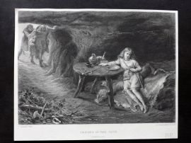 After T. Graham C1860 Antique Print. Imogen in the Cave